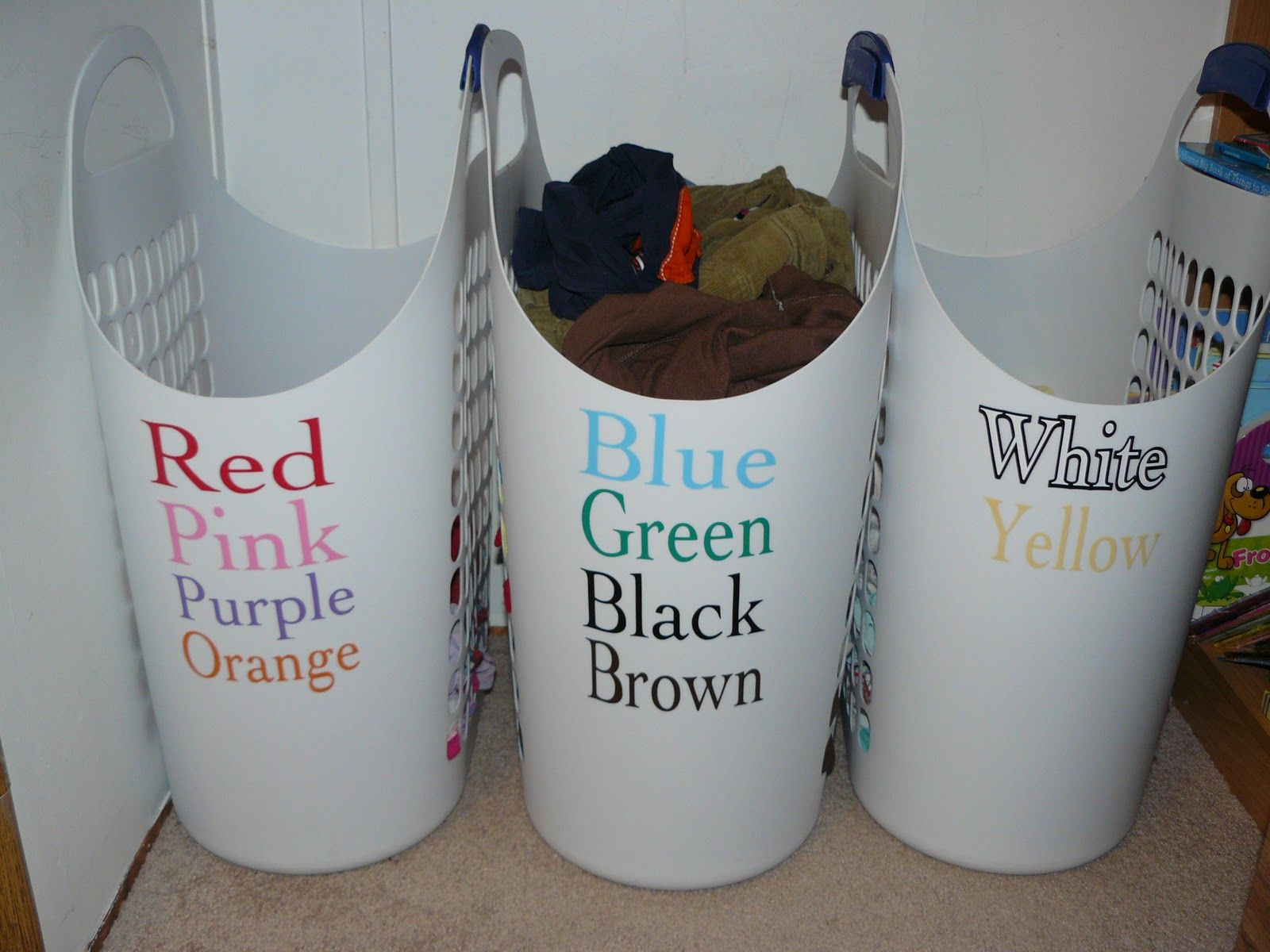 Laundry solution- label with colors so it's easy for kids ...