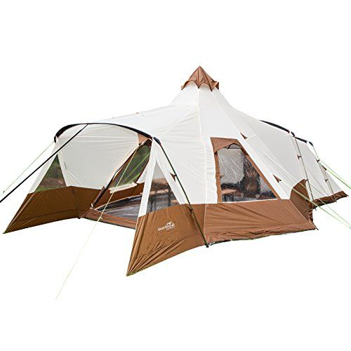 skandika Navaho Teepee Family Group C&ing Tents with fully sewn-in-groundsheet u0026 2 sleeping pods- Dome Design- Insect protection Mesh Water resistant ...  sc 1 st  Pinterest & Skandika Navaho Modern Teepee Tent - Beige/Brown 5 Perso... https ...