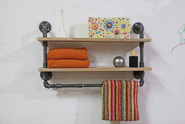 Holzregal Badezimmer ~ Industriedesign handtuchhalter regal badezimmer