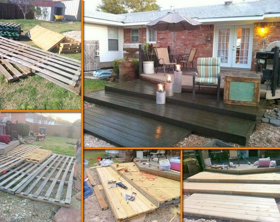 Une terrasse bois en palettes Pallets, Ground level deck and Decking - poser terrasse bois sur herbe