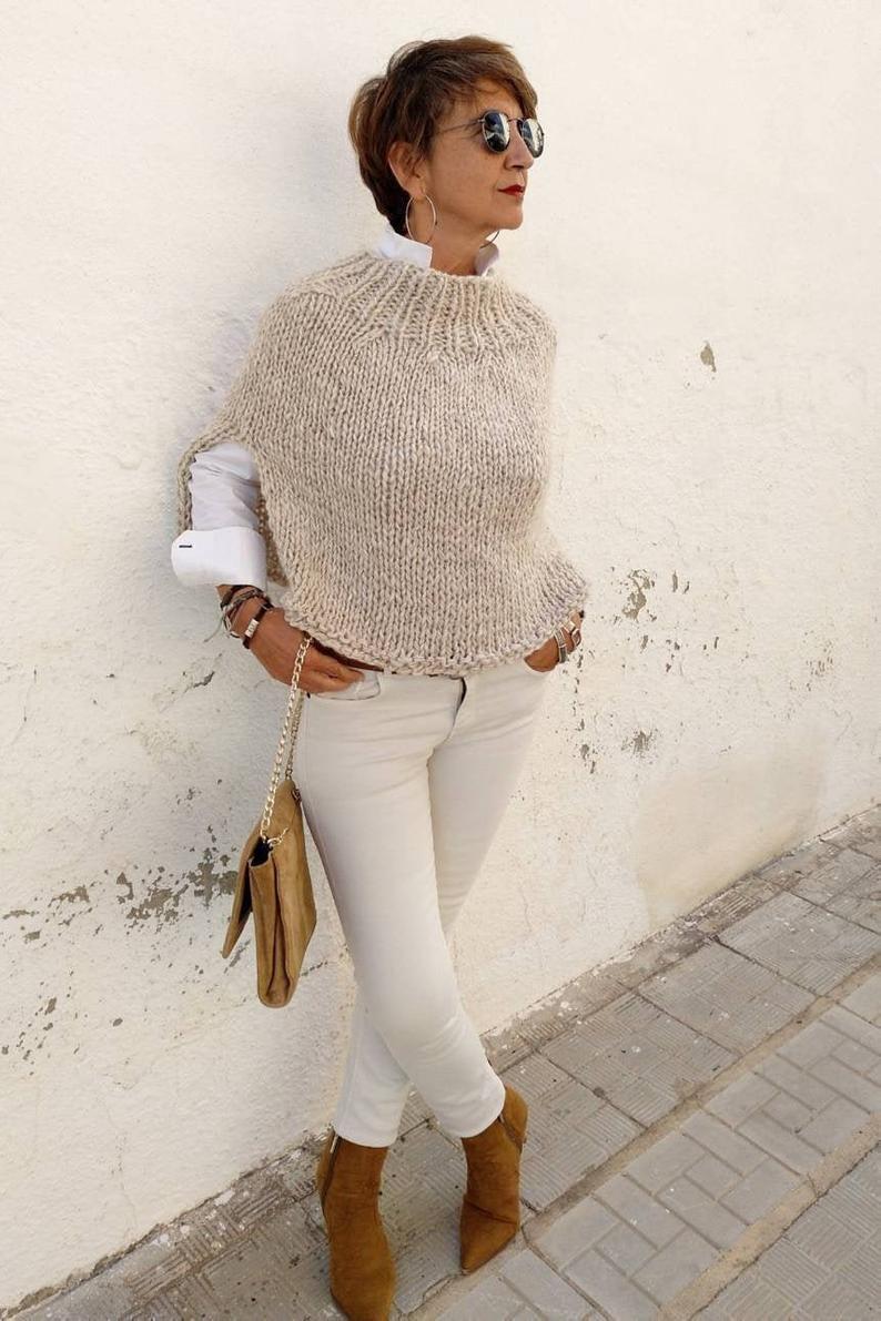 Women's poncho, minimalist wool poncho, cozy oatmeal poncho, women's neutral clothing, hand knit poncho, poncho sweater, turtle neck sweater