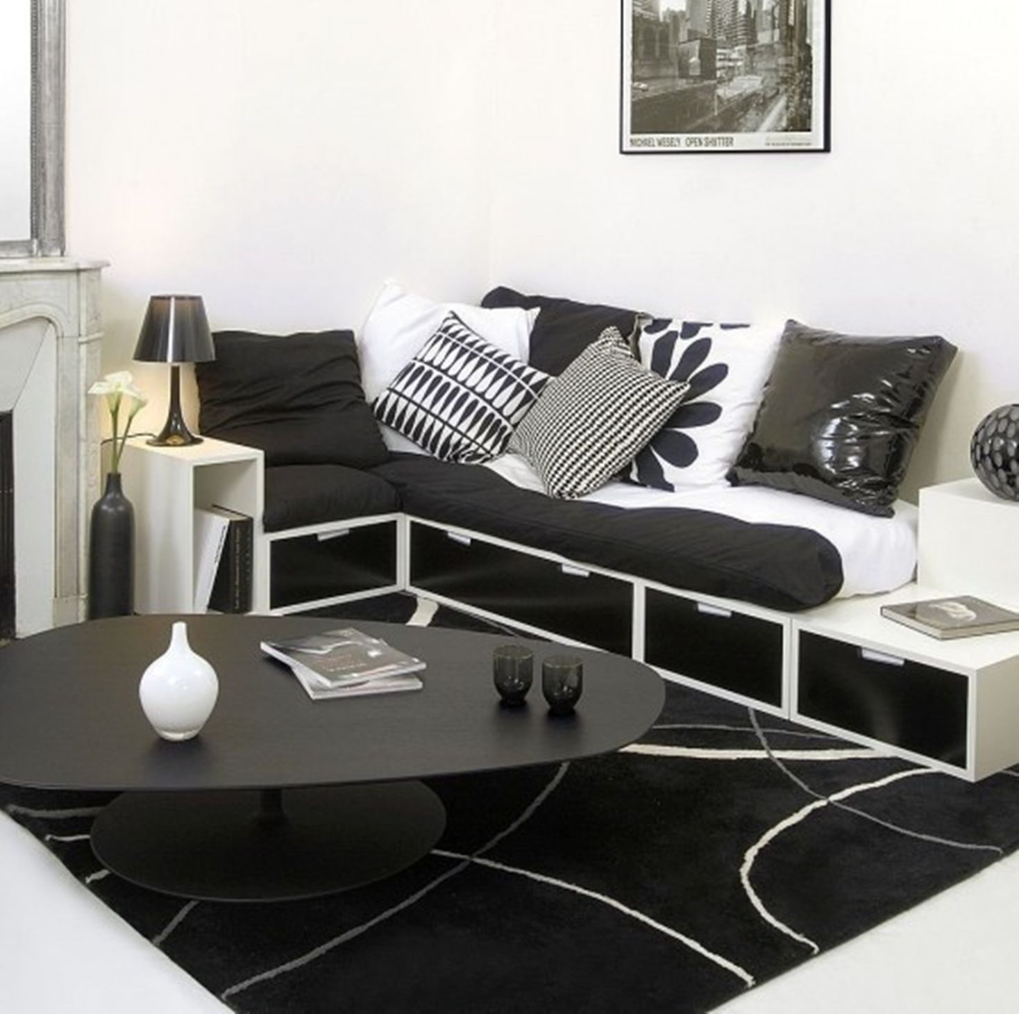 Cornered placement of black white l shaped storage cabinets summer