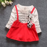 Los niños ropa de la muchacha vestidos moda primavera otoño kid casual patchworking carta historieta de la jirafa sling vestido del color del caramelo