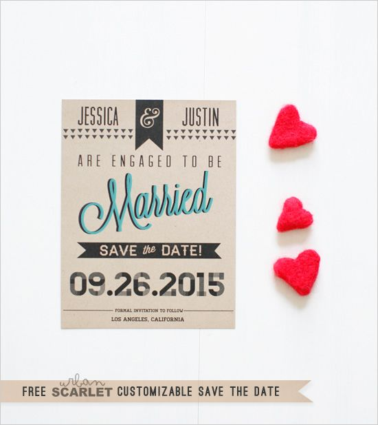 Free Customizable Modern Printable Save The Date. $0 | Freebies ...