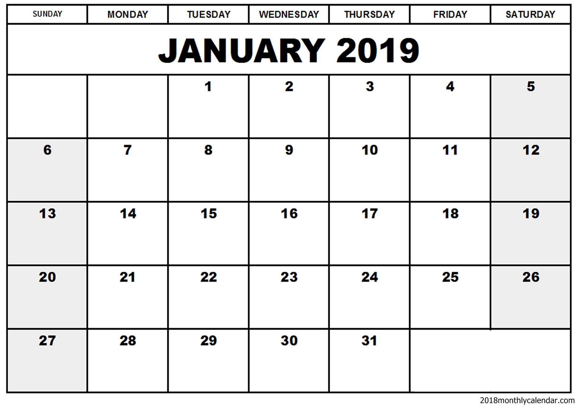 Printable And Editable January 2019 Calendar Blank January 2019 Calendar Template #January2019