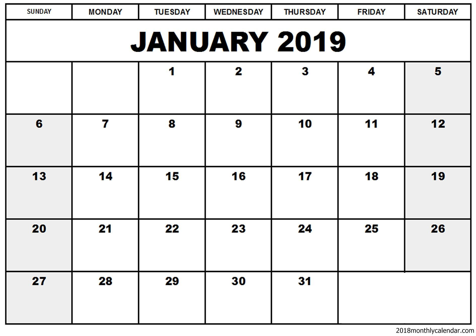 January Calendar Blank Amp Editable