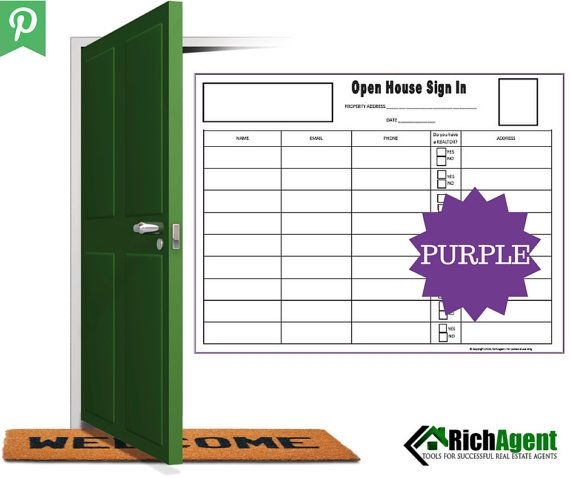 Open House Sign In Sheet  Purple  Real Estate Forms  Open House