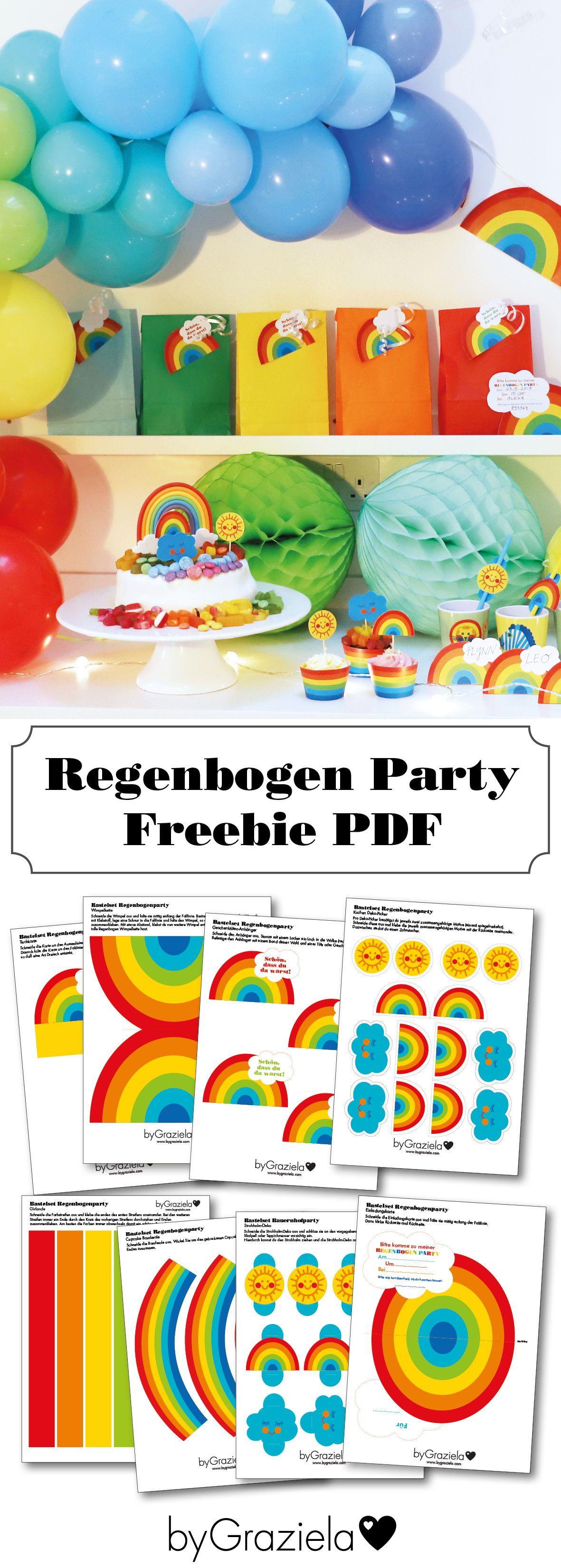 Regenbogenparty als Kindergeburtstag mit FREEBIE zum Herunterladen