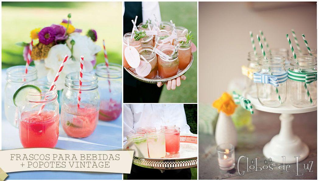 Frascos para bebidas mason jars ideas originales para - Decoracion de bodas originales ...