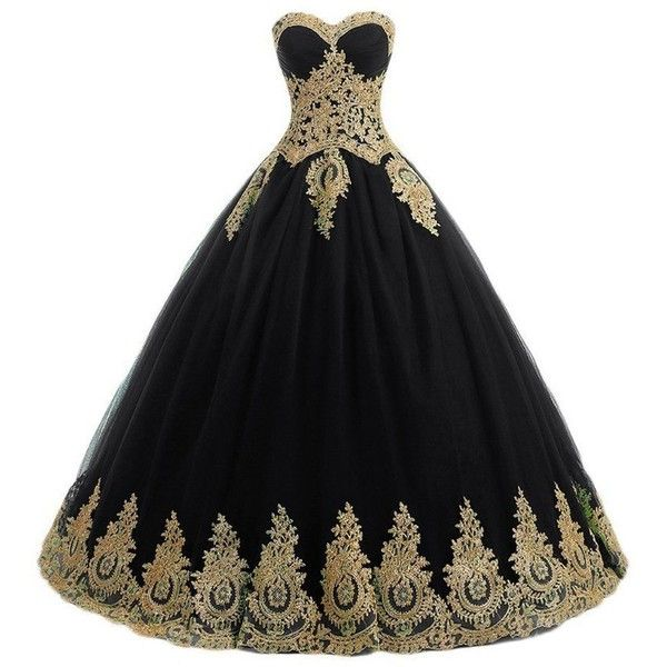 bb5305c835f8 QiJunGe Gold Lace Appliques Ball Gowns Quinceanera Dress Corset Prom...  ( 100)