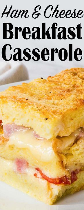 Make-ahead ham and cheese breakfast casserole! Just bread, cheese, tomatoes, ham, eggs, and milk. Feeds a crowd.
