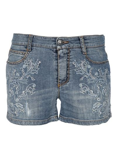 Blue stretch cotton jean shorts from Ermanno Scervino featuring a classic  five pocket design e4e92df945