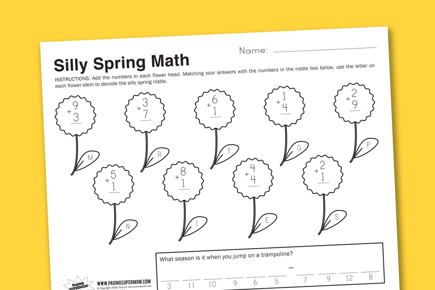 Silly Spring Math Printable Worksheet