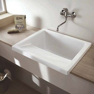 Attractive Clearwater Small White Ceramic Laundry Sink   395 X 610mm