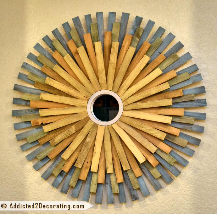 DIY Large MultiColored Wood Shim Sunburst Mirror Sunburst
