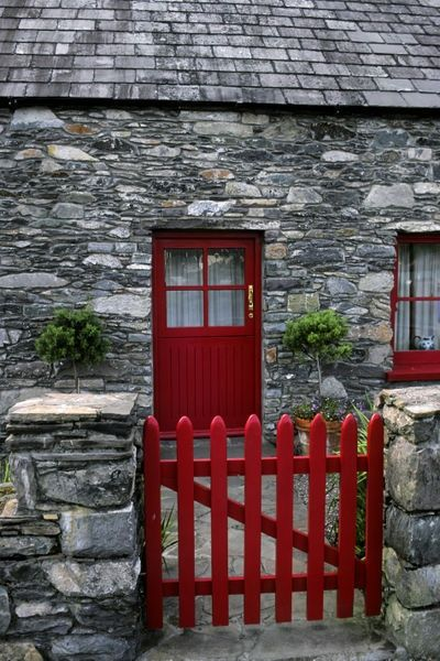 Red Fence And Red Door Posted Via Whimsicalraindropcottage Tumblr Com Beautiful Doors Red Door Stone Cottage