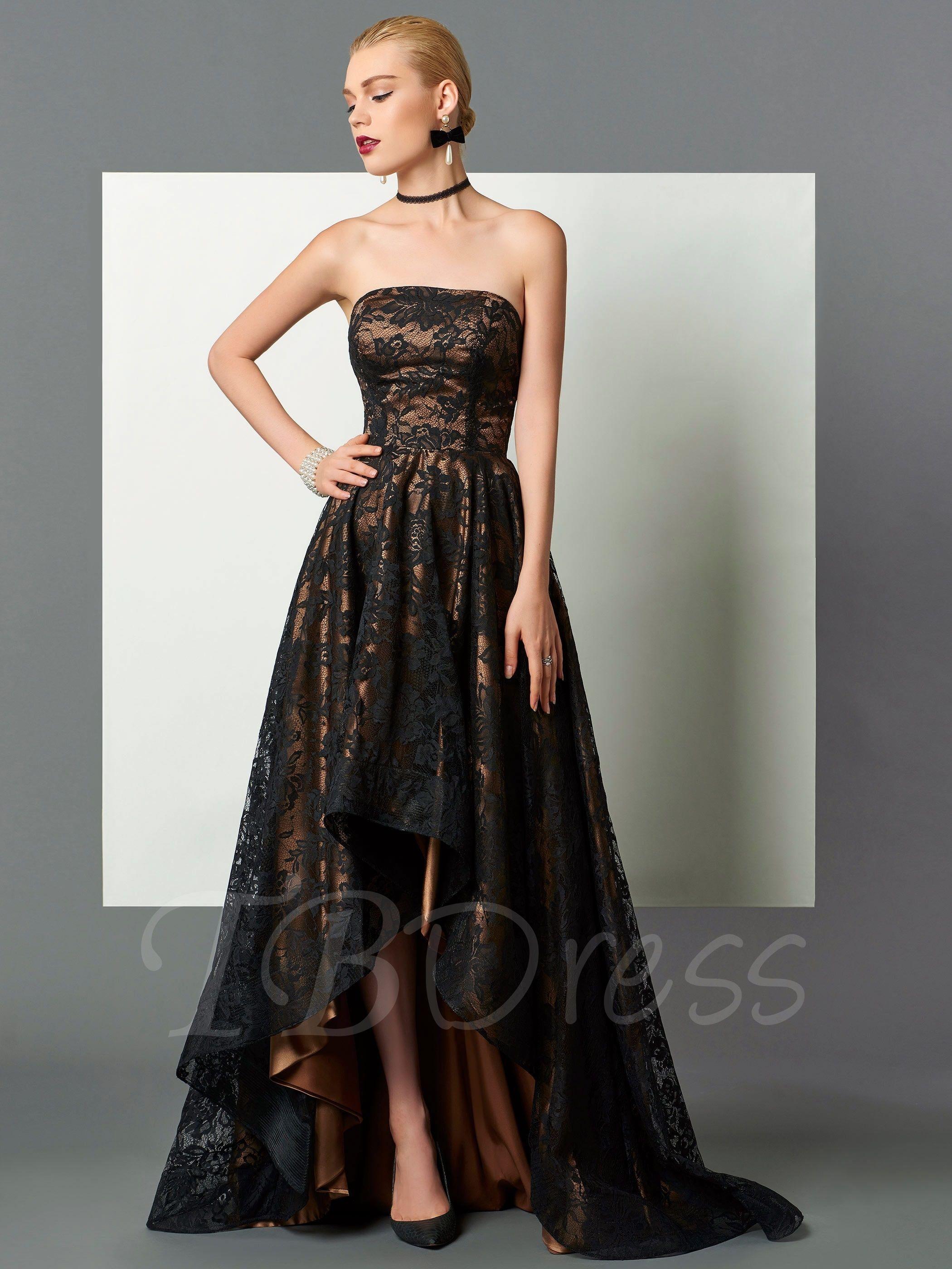 A-Line Strapless Lace Asymmetry Evening Dress