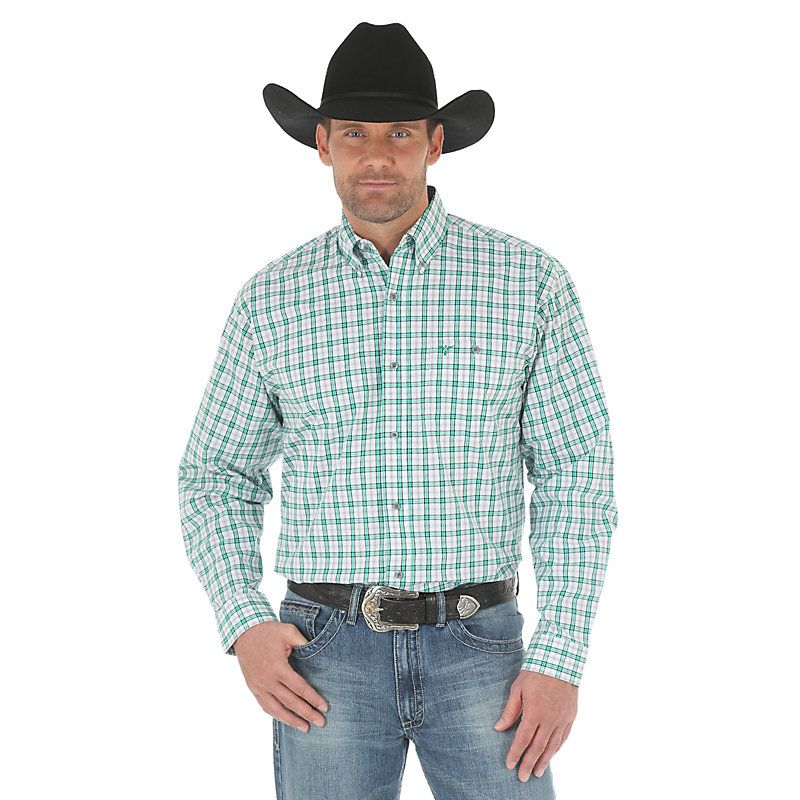 Wrangler Mens 20X Plaid Long Sleeve Competition Shirt