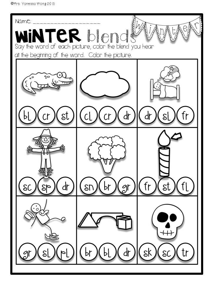 Download Free Printables At Preview Winter Blends Winter Math And Literacy No Prep Printables First Grade Winter Math Math Literacy First Grade Activities Winter worksheets for first grade
