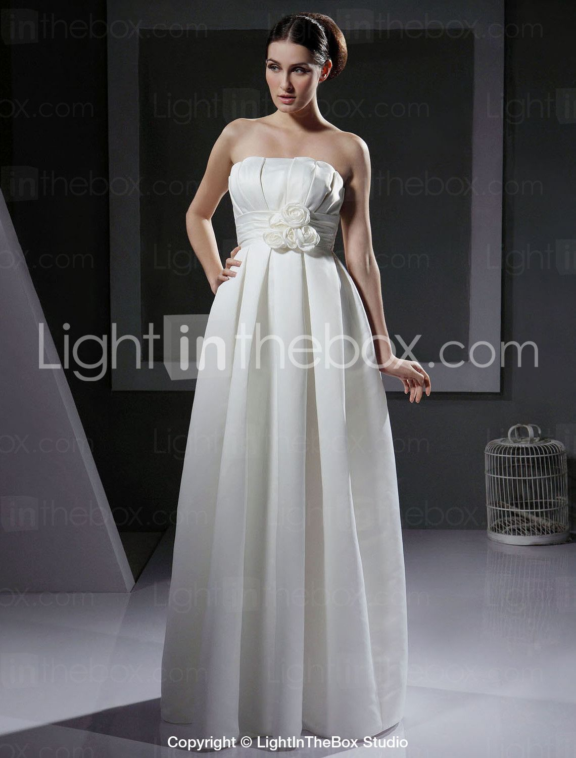 Lightinthebox wedding dresses  Aline Strapless Floorlength Satin Wedding Dress  uac  Light