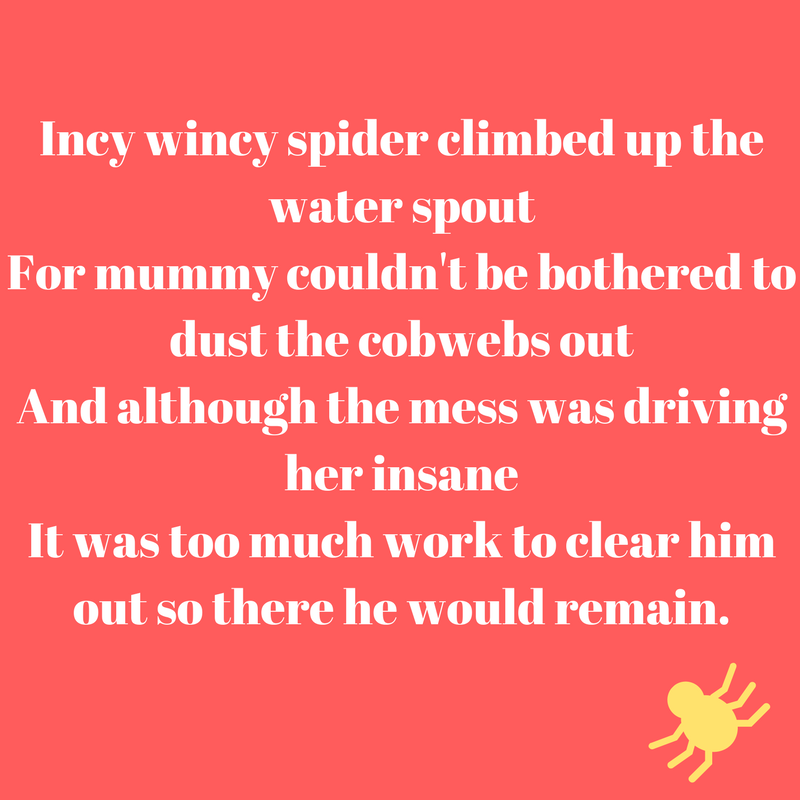 A classic spider nursery rhyme re-written for any mummy needing some parent humour