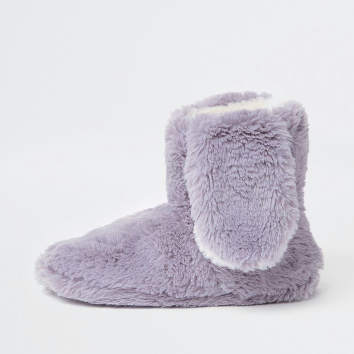 a19121cbe64 Grey faux fur bunny ear boot slippers