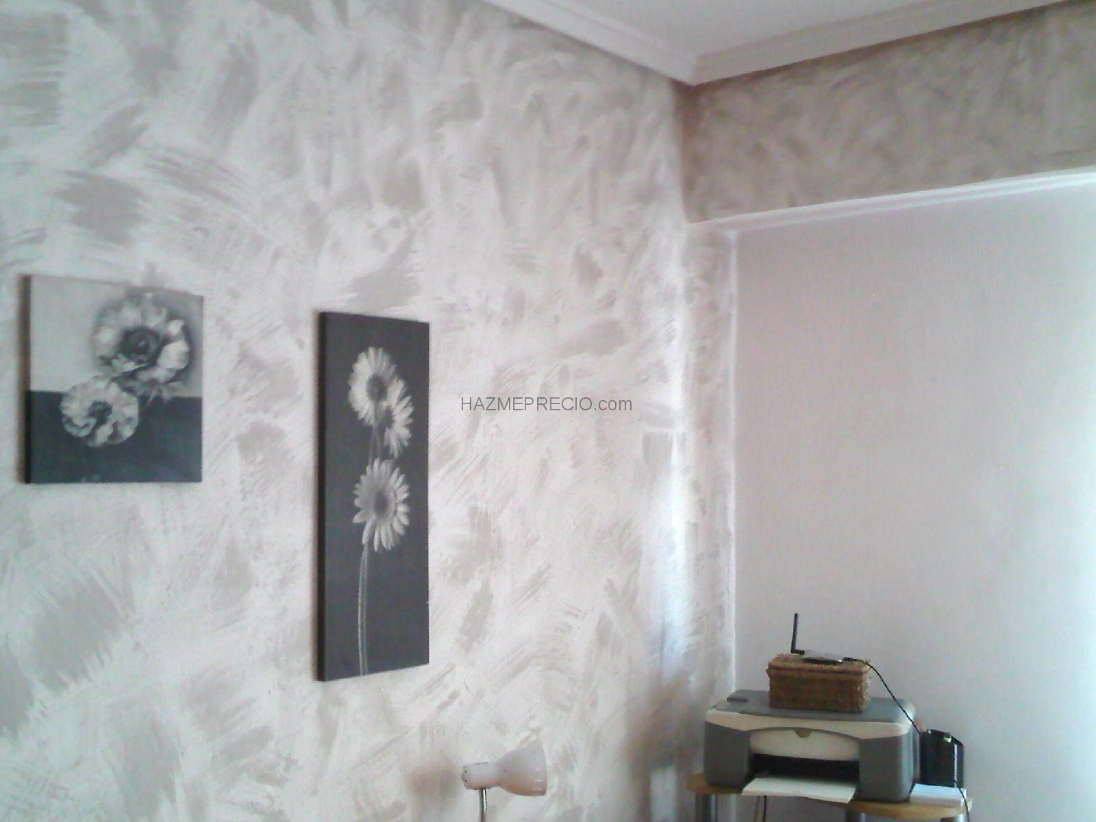 Pinturas decorativas trabajo en habitacion con gotele - Pintura pared gris ...