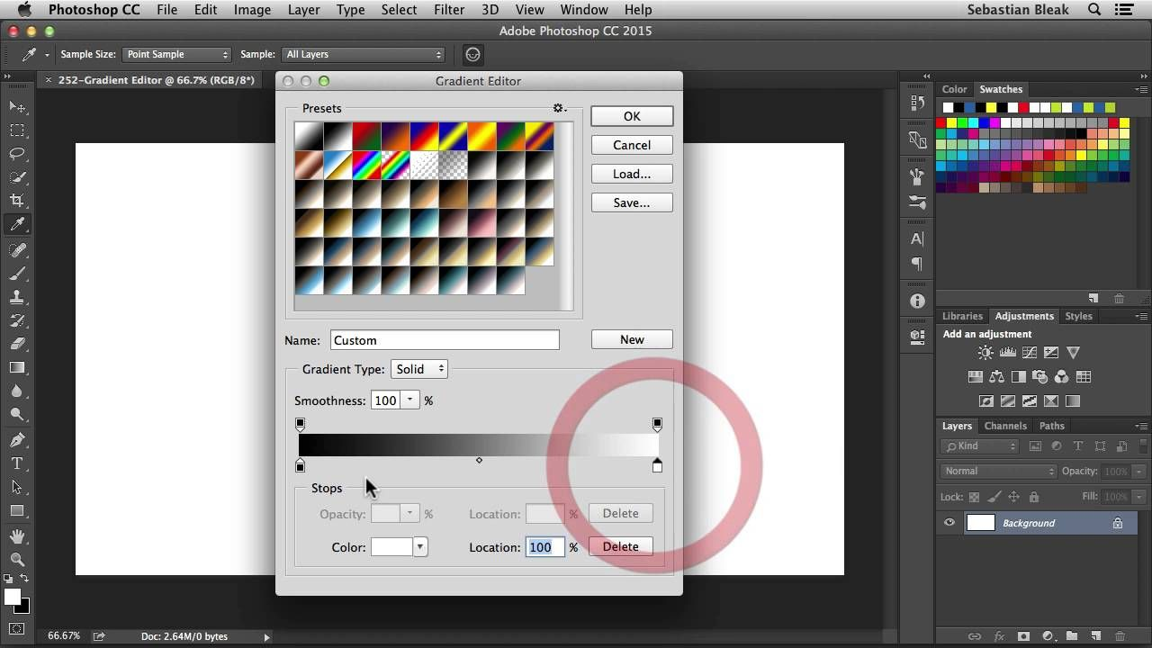 """Adobe """"Gradient Editor"""" NSL WK 252 Color"""