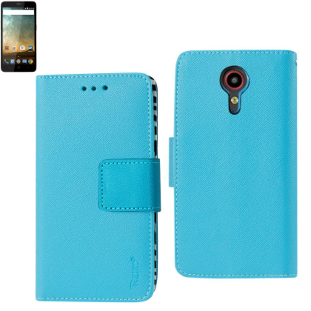 Reiko Zte N817 Wallet Case 3 In 1 Zebra Pattern With Interior Leather Polymer And Stand Function-Blue