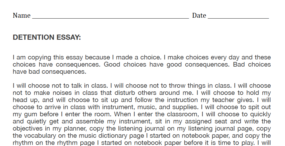 Middle School Band Maven Detention Essay About Life On Discipline In Student