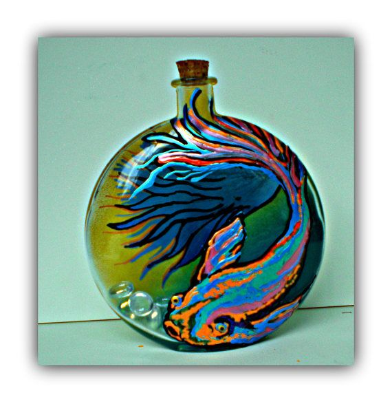 Betta Art Decorative Fish Bowl Glass Fish Bowl Betta Fish Decor Betta Fish Bowl Vintage  Alcohol