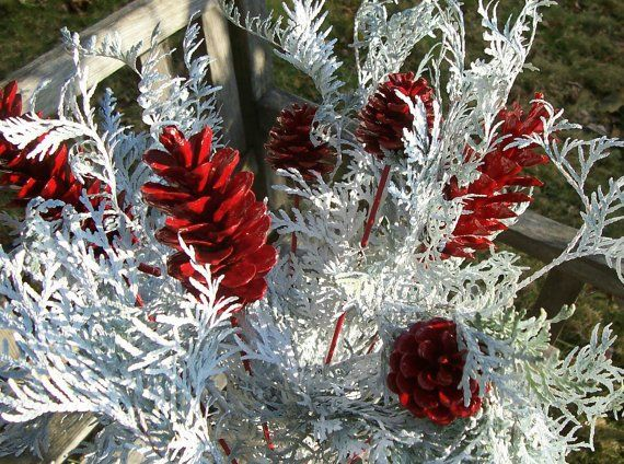 Pine Cone Floral Picks, Pine Cone Flowers.  Red or green, or mix, 1 dozen.  Winter Decor, Christmas, Floral Arrangements, Pinecones, Gift. #pineconeflowers