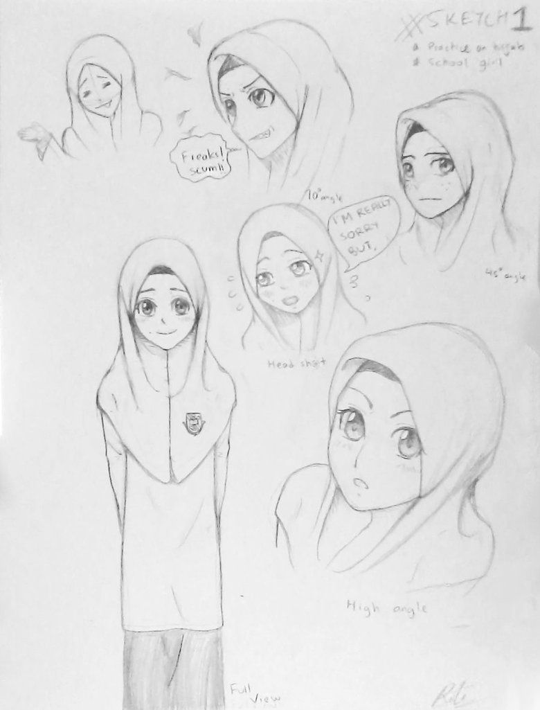Sketch 1 practice on hijab and malay school girl by rahimi af