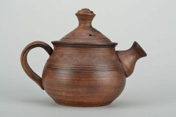 Vintage Teapot Ceramic Tea Pot Stoneware Teapot by FairyPottery