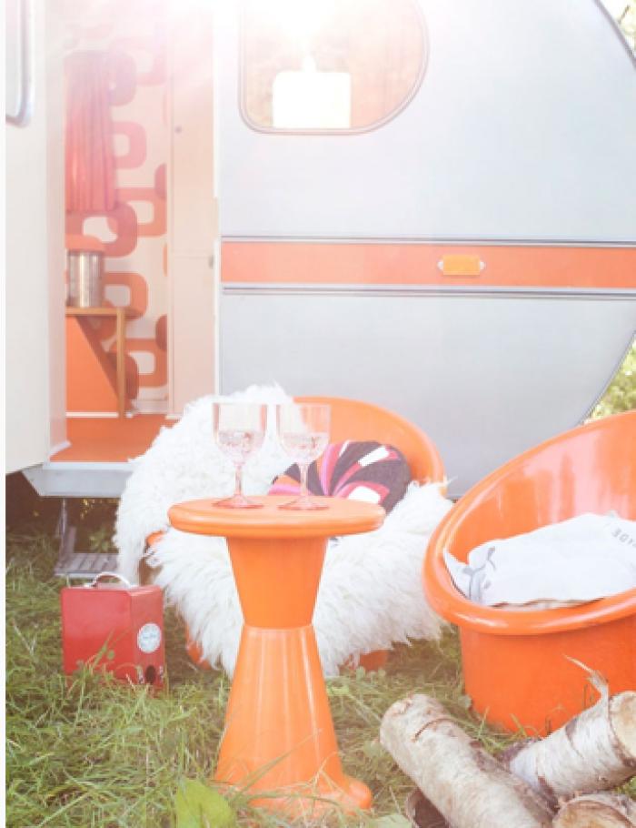 Prachte retro caravan met Deens design sausje.