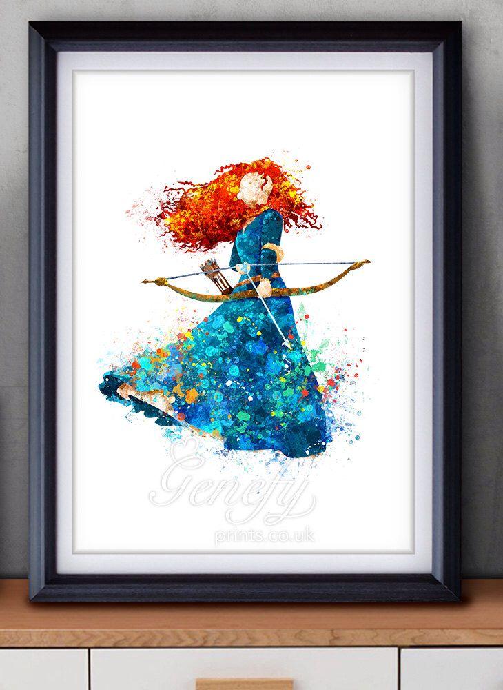 Disney Princess Merida, Brave Watercolor Poster Print - Watercolor ...