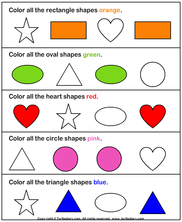 Color the Shape Answer Shapes worksheets, Shapes