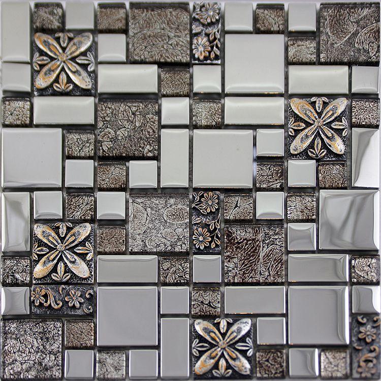 crystal glass tile metal coating designs glass mosaic backsplash ...