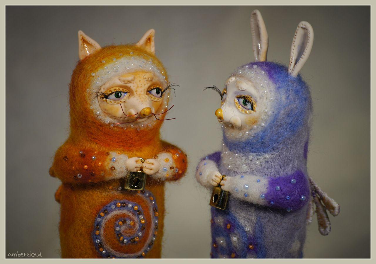 Лися и Зая *** doll, dollart, hand made, ©ambercloud, авторская кукла