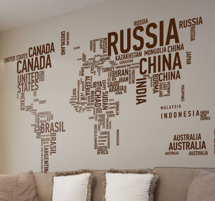 Sticker planisphre texte droit job pinterest interiors type world map sticker world map typographic wall decal gumiabroncs Gallery