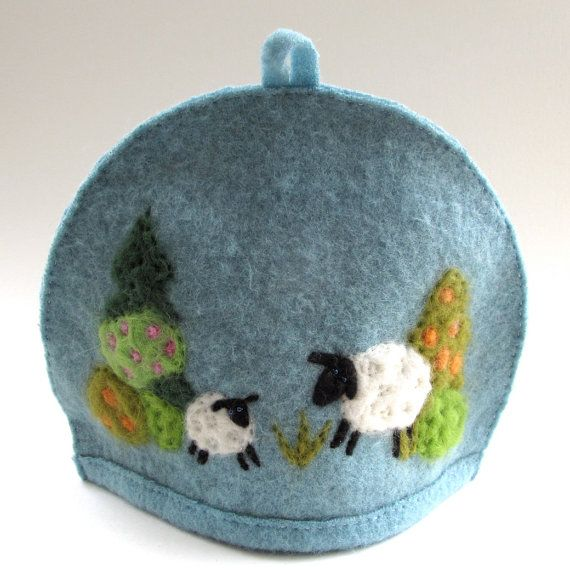 Neelde Felted Tea Cosie Wool Blanket Tea Cozie Sheep by DodadChick ...