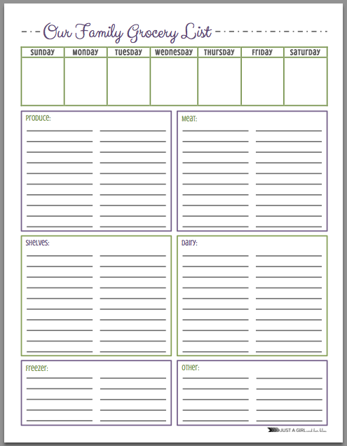 Free Grocery List Printables   Colors  Free Groceries Blog And