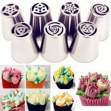 7Pcs Icing Piping Nozzles Tips Cake Flower Pastry Decorating Baking Tools Kit