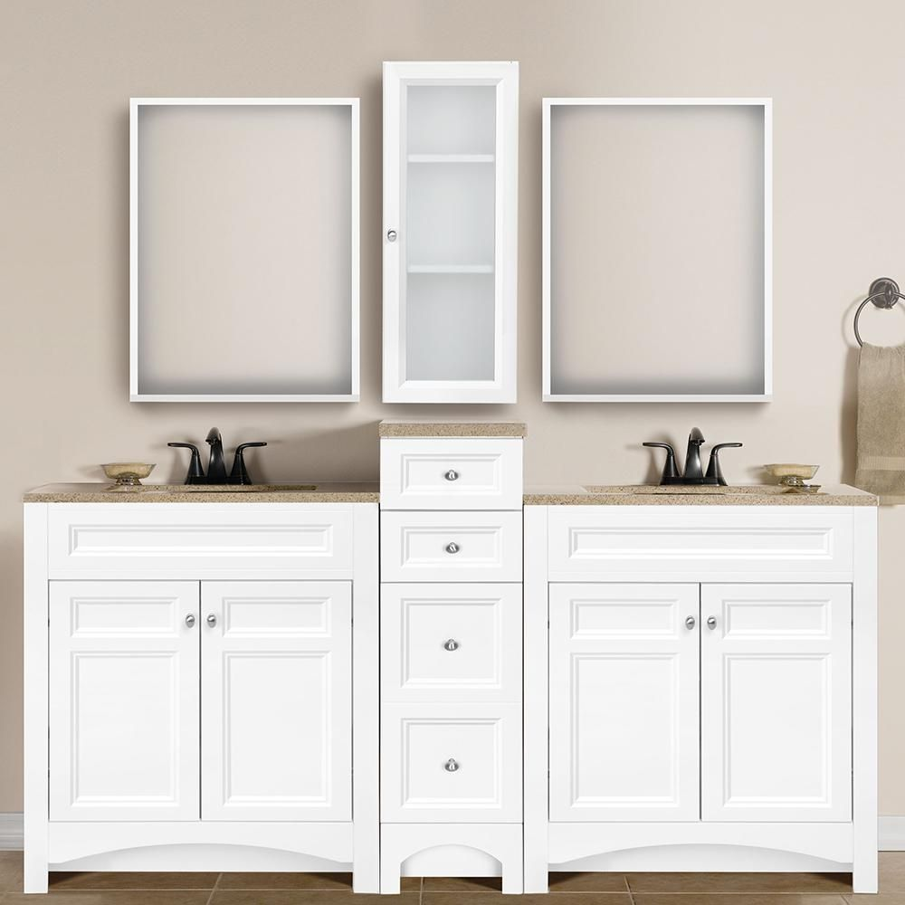 Glacier Bay Modular 30 5 In W Bath Vanity In White With Solid Surface Technology Vanity Top In Cappuccino With White Sink Ppdecwht30 The Home Depot Bathrooms Remodel White Vanity Bars For Home