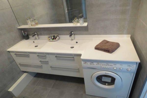 Meuble salle de bain avec lave linge - meuble salle de bain panier a linge