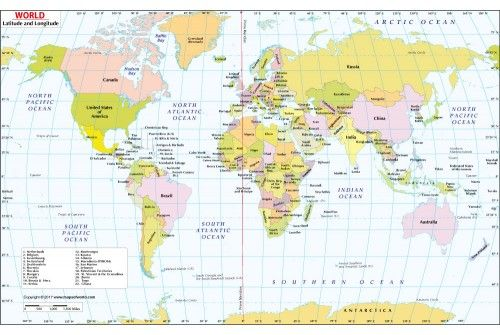 Buy World Latitude And Longitude Map Digital - World map with latitudes