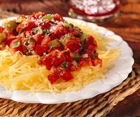 tonight's dinner... I love me some Spaghetti squash.  hint- I always add some olives.
