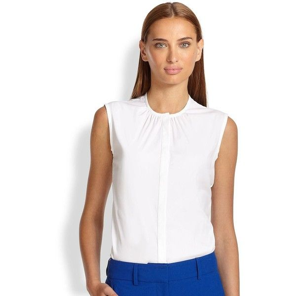 Piazza Sempione Cotton Poplin Sleeveless Blouse ($465) ❤ liked on Polyvore featuring tops, blouses, apparel & accessories, optical white, white sleeveless blouse, ruched blouse, ruched top, white blouse and white ruched top