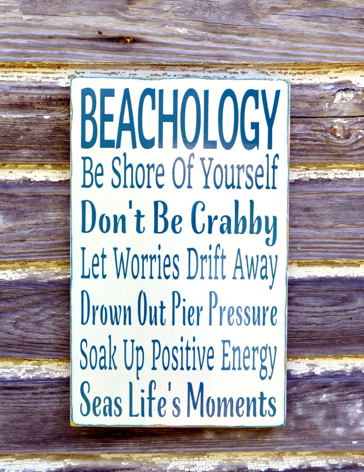 Beach Sign Beachology Unique Theme Wedding Decor Custom Nautical Wooden Plaque Rules Wisdom Lessons Advice Ocean Sea Wall Art Gift