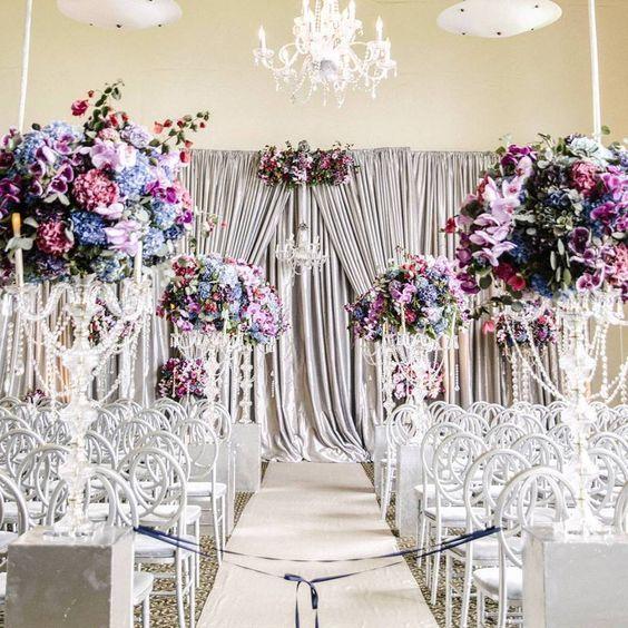 Indoor Silver Backdrop Wedding Ceremony